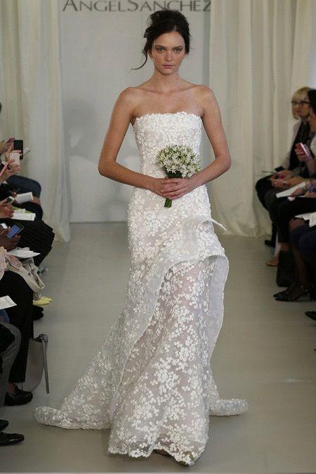 Свадебное платье 2014 объёмные аппликацииот Angel Sanchez